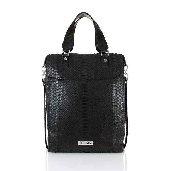 BLACK FRONT POCKET TOTE