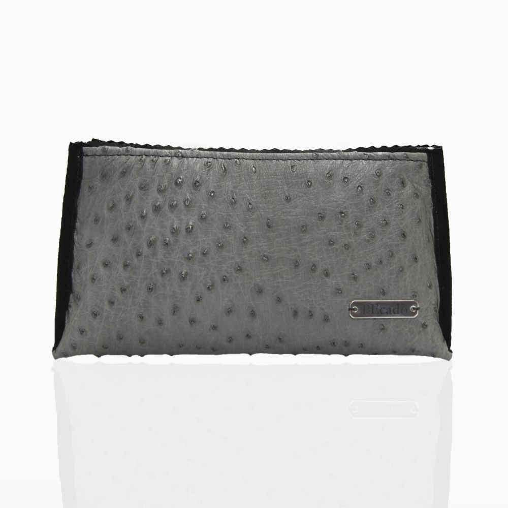 Anthracite Ostrich Leather Pouch