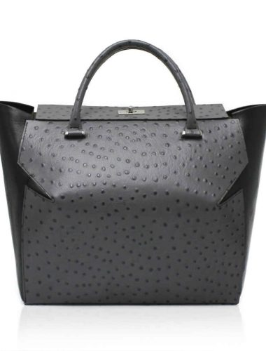 GREY LEATHER MARQUIS TOTE