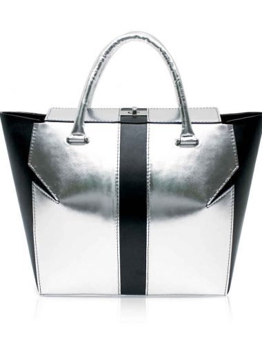 SILVER METALLIC MARQUIS TOTE