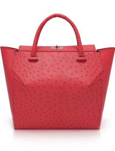 RED OSTRICH MARQUIS TOTE