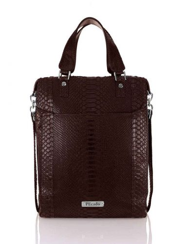 BROWN PYTHON FRONT POCKET TOTE