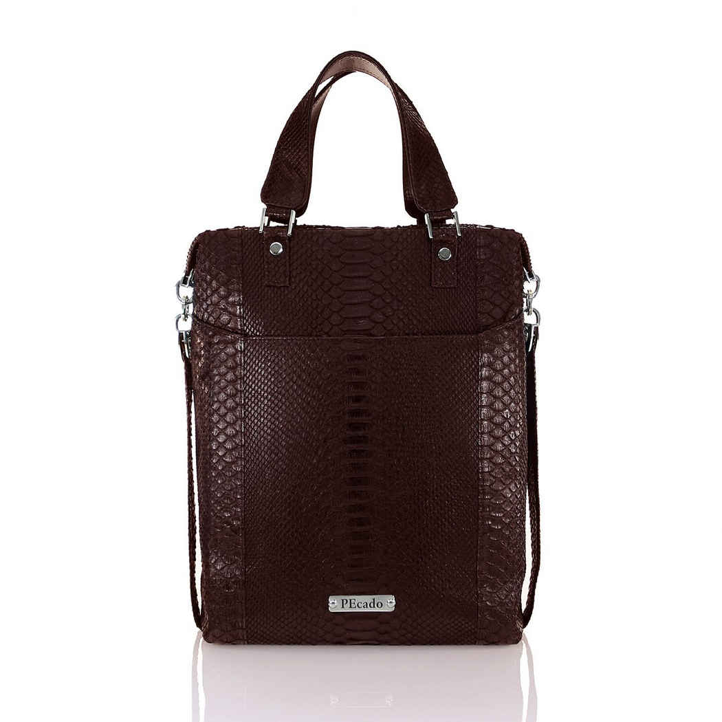 DARK BROWN FRONT POCKET TOTE
