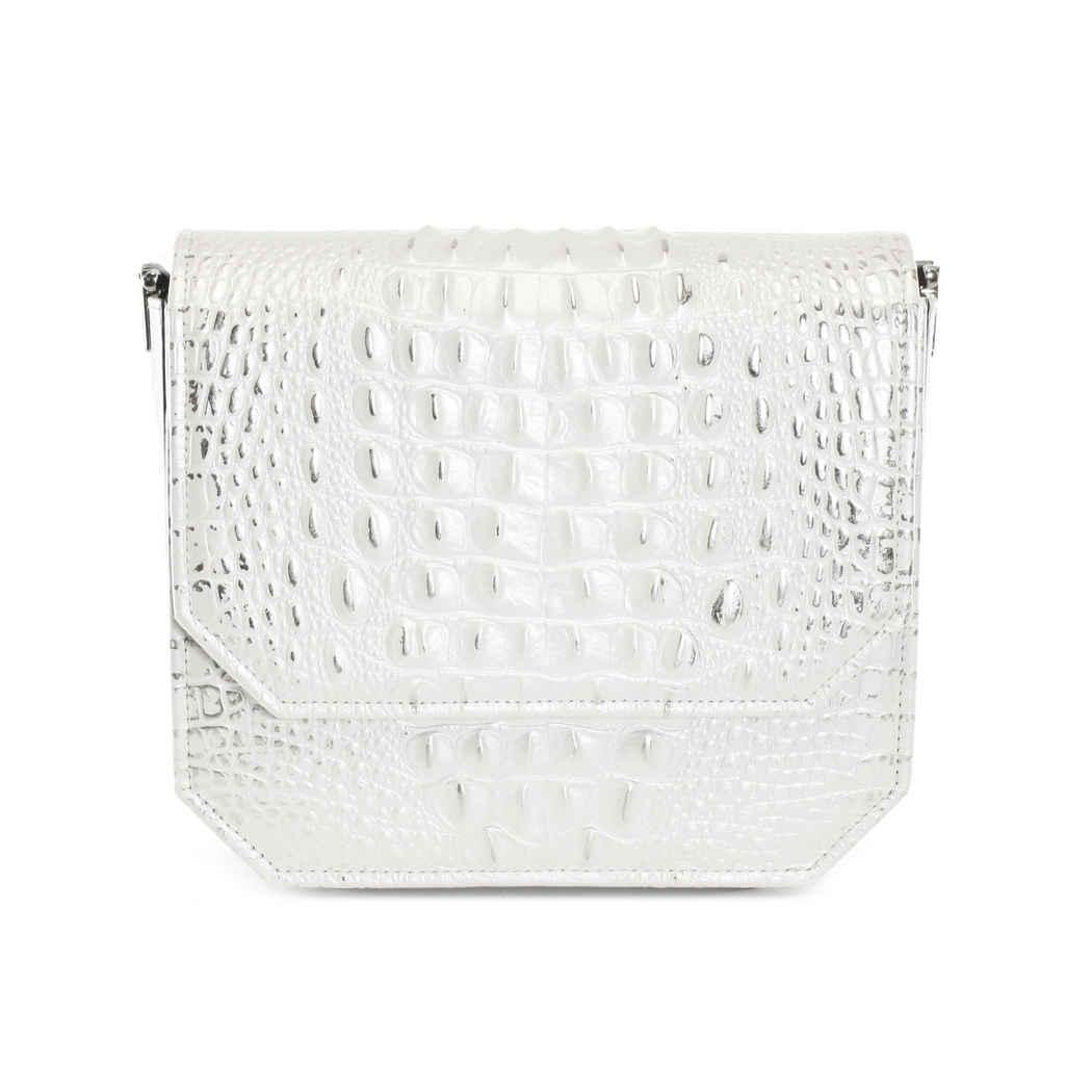 PEARL WHITE CROC RADIANT CLUTCH BAG