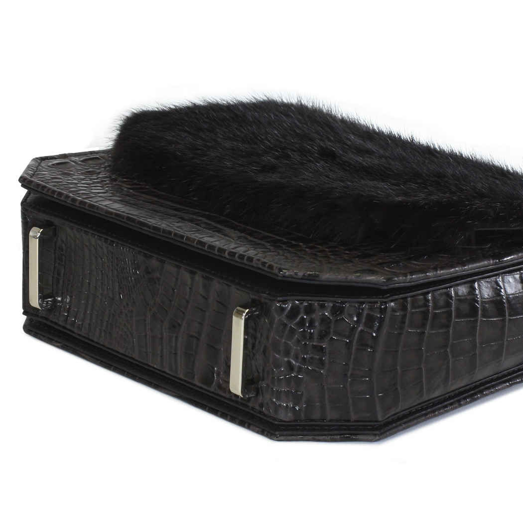 Dark Brown Croc RADIANT CLUTCH BAG