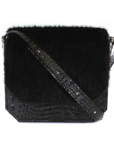 Dark Brown Croc RADIANT CLUTCH BAG