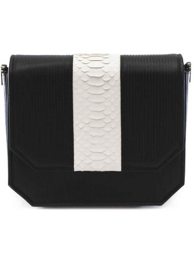 BLACK STRIPE RADIANT CLUTCH BAG