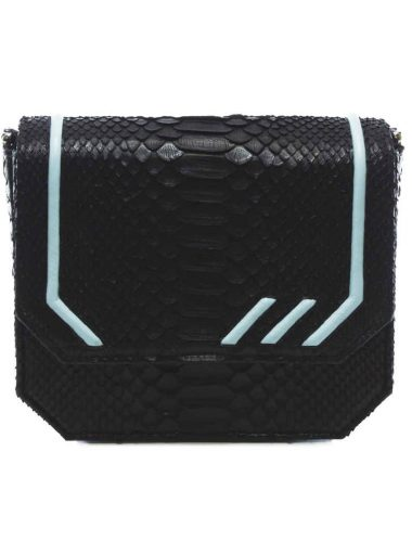 BLACK PYTHON RADIANT CLUTCH BAG