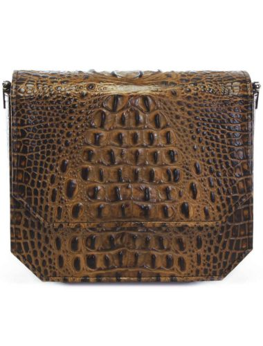 CARAMEL CROC RADIANT CLUTCH BAG