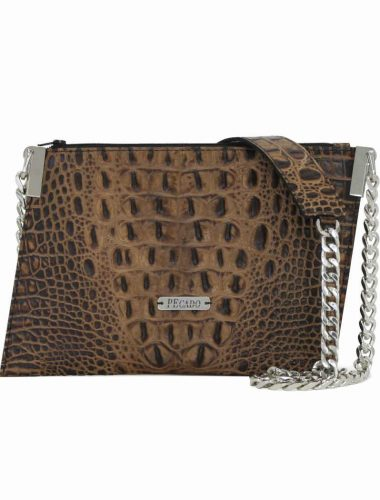 CARAMEL CROC EMERALD CROSSBODY