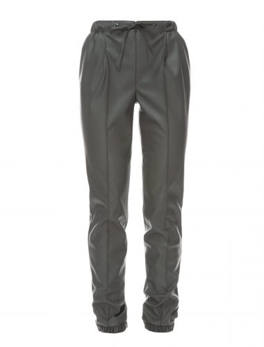 DAFNA MAY // KHAKI VEGAN LEATHER PEG LEG TROUSERS