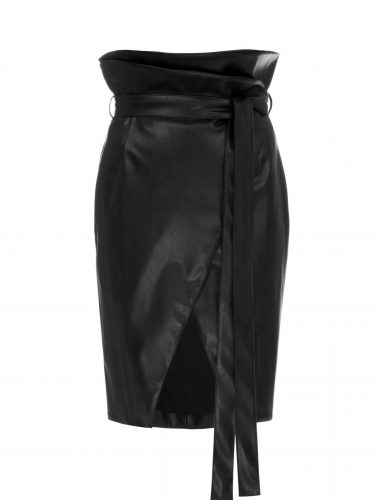 DAFNA MAY // LEATHER TULIP WRAP SKIRT