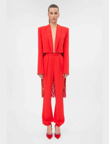 DAFNA MAY // TUXEDO CROP JACKET RED