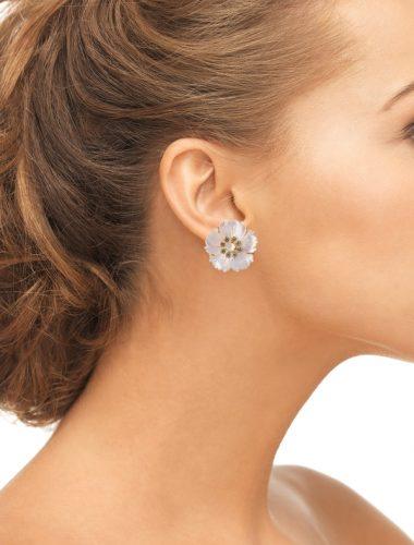 BOUNKIT // Mother Of Pearl & Blue Quartz Flower Earrings