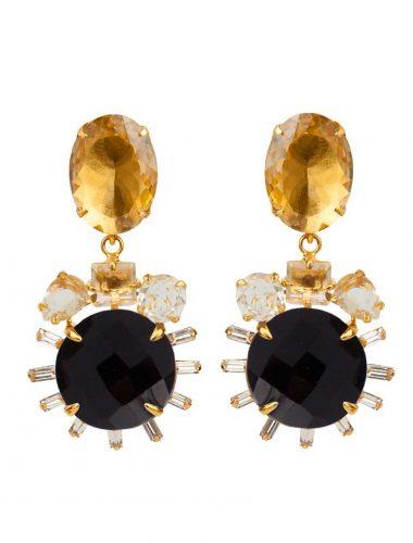 BOUNKIT // Lemon Quartz, Black Onyx, And White Topaz 2-IN-1 Earrings