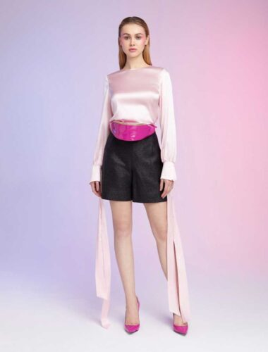 DAFNA MAY // PINK SILK BLOUSE WITH BOW AROUND WRIST