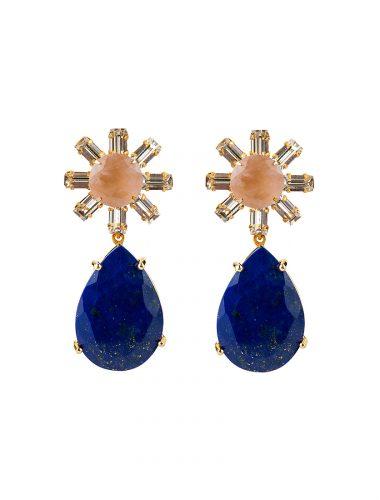 BOUNKIT // Rose Quartz, Clear C.Z Baguettes & Lapis Drop Earrings