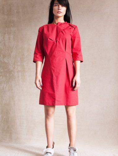 MERVEIS // RED GEOMETRICAL DRESS