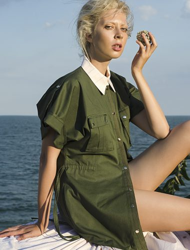 MERVEIS // KHAKI SAFARI DRESS