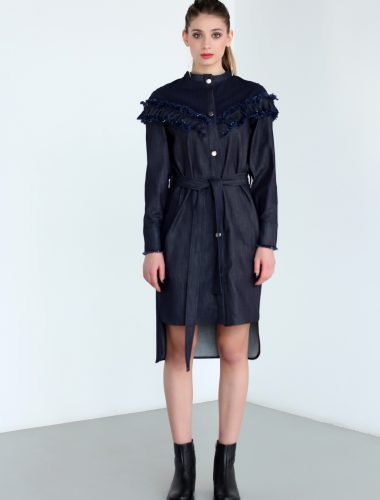 MERVEIS // DENIM DRESS WITH RUFFLES