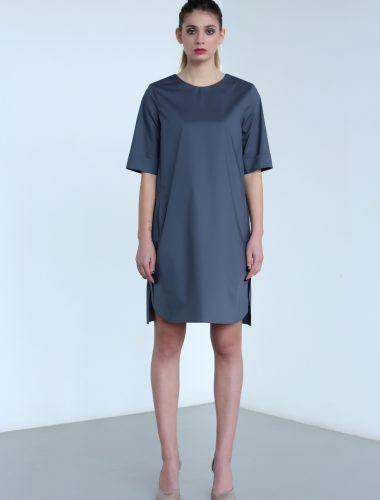 MERVEIS // STRAIGHT CUT V-NECK GREY TUNIC DRESS