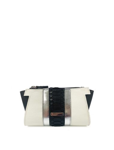 PEcado // DVK CLUTCH In Cream & Black Leather