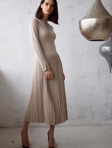FIORE BIANCO // ROUND NECK PLEATED DRESS