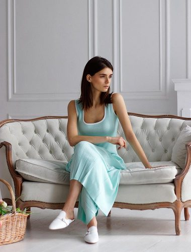 FIORE BIANCO // TANK TOP, MINT WITH WHITE TRIM