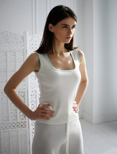 FIORE BIANCO // TANK TOP, WHITE WITH MINT TRIM