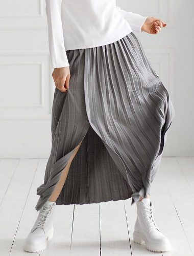 FIORE BIANCO // PLEATED SKIRT WITH FRONT SLITS, GREY