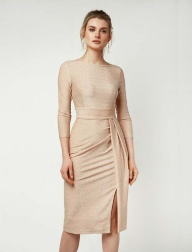 LIPAR // ASYMMETRICAL FRONT PLEAT DRESS