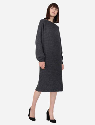 JENADIN // LONG RIB KNIT WOOL DRESS