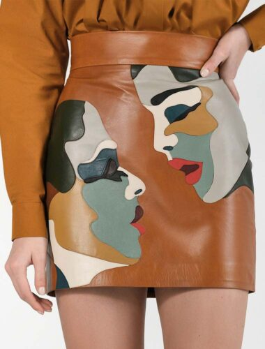"K.KVIT // LEATHER ""LOVE"" SKIRT"