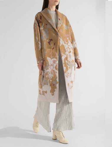 91LAB // SINGLE BREASTED JACQUARD COCOON COAT In BEIGE