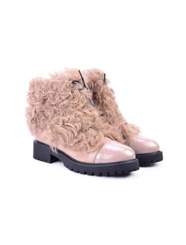 VITTO ROSSI // GOAT FUR & SHEARLING-LINED BLUSHED PINK HIKING BOOTS