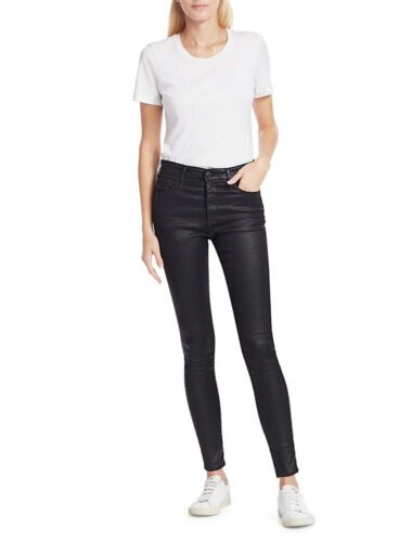 UA TROYKA // MID-RISE LEATHERETTE JEANS In BLACK
