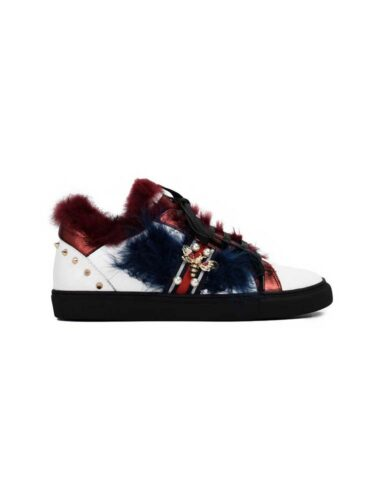 VITTO ROSSI // MULTI COLOR RABBIT FUR SPIKED LEATHER SNEAKERS