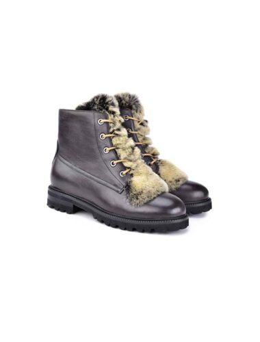 VITTO ROSSI // RABBIT FUR & SHEARLING LINED LEATHER HIKING BOOTS