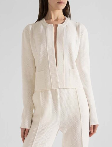 91LAB // SEED-PATTERN KNITTED CROPPED JACKET In CREAM