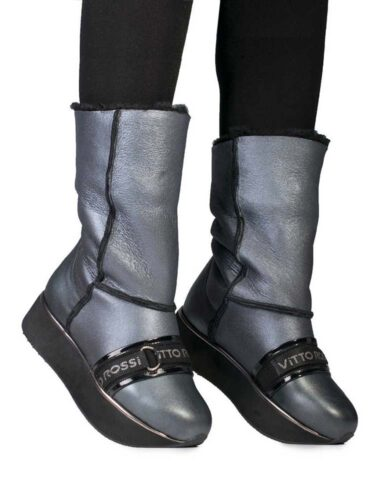 VITTO ROSSI // SIGNATURE VR SHEARLING PLATFORM BOOTS In GUNMETAL