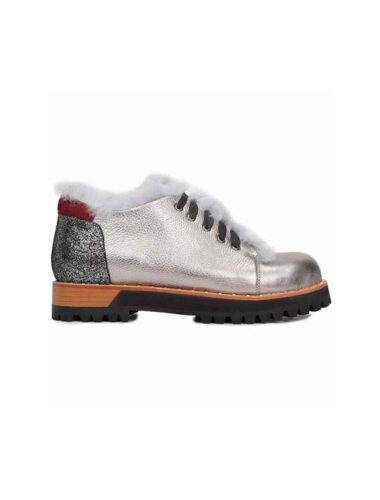 VITTO ROSSI // SILVER LOW CUT BOOT With RABBIT FUR