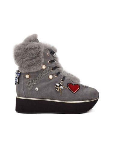"VITTO ROSSI // ""SWEET"" GREY SUEDE PLATFORM BOOTS"