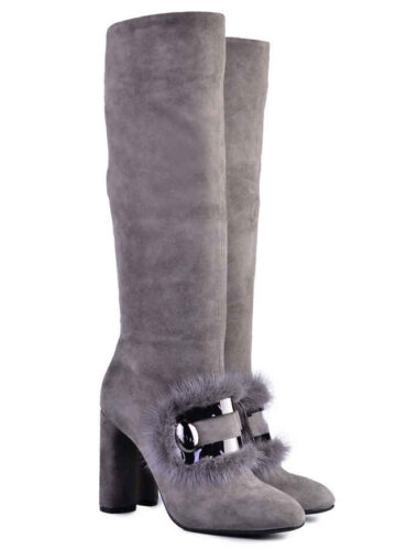 VITTO ROSSI // SUEDE TALL BOOTS With MINK FUR-TRIM, GREY