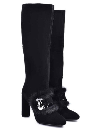 VITTO ROSSI // SUEDE TALL BOOTS With MINK FUR-TRIM, BLACK