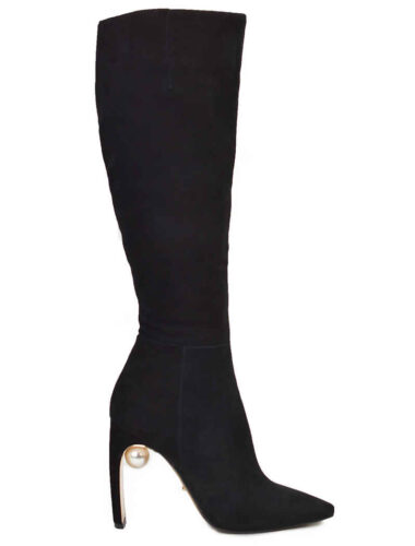 VITTO ROSSI // SUEDE KNEE-HIGH BOOTS With PEARL