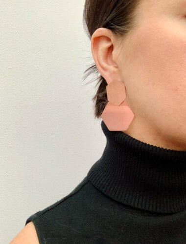 SA // SURGICAL STEEL HEXAGON EARRINGS, ROSE GOLD