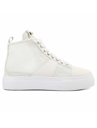 VITTO ROSSI // HIGH-TOP MESH SNEAKERS, WHITE
