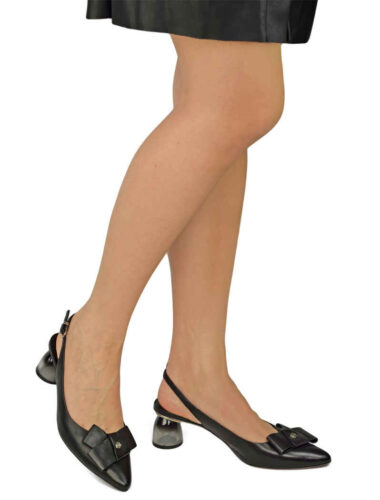 VITTO ROSSI // FRONT BOW ROUND HEEL SANDALS, BLACK