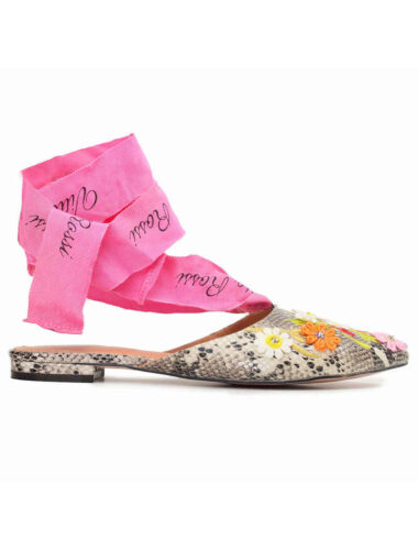 VITTO ROSSI // VR TIE EMBROIDERED PYTHON SLINGBACK FLATS