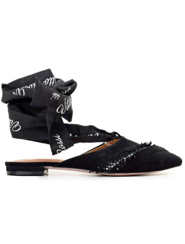 VITTO ROSSI // VR TIE CRYSTAL SUEDE SLINGBACK FLATS
